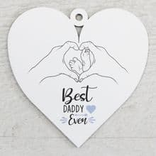Printed 9.5cm Wood Heart cut from 3mm MDF Dad Daddy Fathers Day Gift - Feet